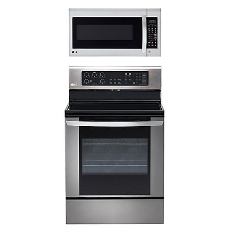 LG - Single-Oven Electric Range with EasyClean and Over-the-Range Microwave Oven Bundle - Stainless Steel
