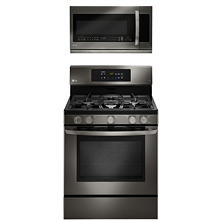 Freestanding Gas Oven with EvenJet Convection and Over-the-Range Microwave Oven Bundle - Black Stainless Steel