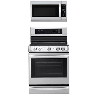 Electric Single-Oven Range with ProBake Convection and Over-the-Range Microwave Oven with EasyClean Bundle -Stainless Steel