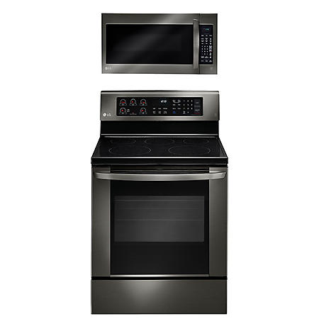 LG - Single-Oven Electric Range with EasyClean and Over-the-Range Microwave Oven Bundle -  Black Stainless Steel