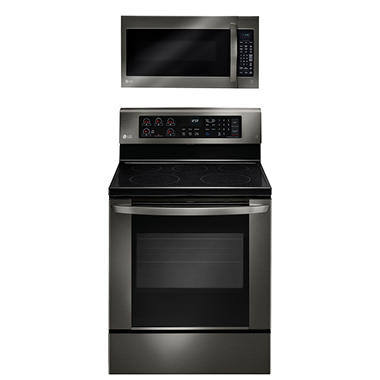 LG Single-Oven Electric Range with EasyClean and Over-the-Range Microwave Oven Bundle -  Black Stainless Steel