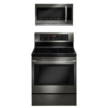 Single-Oven Electric Range with True Convection and EasyClean and Over-the-Range Microwave Oven Bundle - Black Stainless Steel