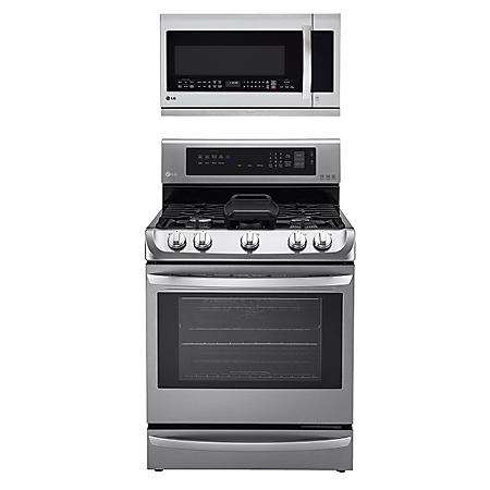 LG - Gas Single-Oven Range with ProBake Convection, EasyClean and Warming Drawer and Over-the-Range Microwave Oven with EasyClean Bundle - Stainless Steel