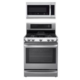 Gas Single-Oven Range with ProBake Convection, EasyClean and Warming Drawer and Over-the-Range Microwave Oven with EasyClean Bundle - Stainless Steel