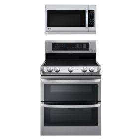 LG Electric Double-Oven Range with ProBake Convection, EasyClean and Infrared Grill System with Over-the-Range Microwave Oven with EasyClean Bundle -