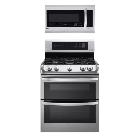 LG - Gas Double-Oven Range with ProBake Convection, EasyClean  and Over-the-Range Microwave Oven Bundle - Stainless Steel