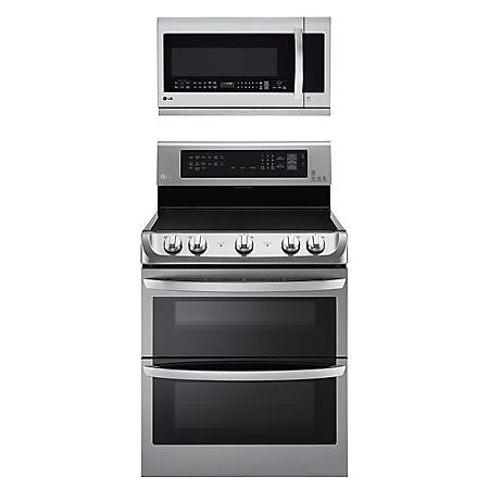 LG - Electric Double-Oven Range with ProBake Convection, EasyClean and Infrared Grill System with Over-the-Range Microwave Oven Bundle - Stainless Steel