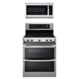 Electric Double-Oven Range with ProBake Convection, EasyClean and Infrared Grill System with Over-the-Range Microwave Oven Bundle - Stainless Steel