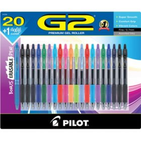 Pilot G2 Premium Retractable Gel Ink Pen, Assorted Ink (.7mm., 20 Ct.)