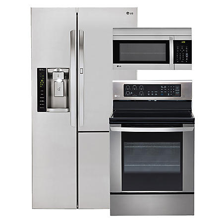 LG - Side-by-Side Refrigerator with Door-in-Door, Single-Oven Electric Range with EasyClean, and Over-the-Range Microwave Bundle - Stainless Steel