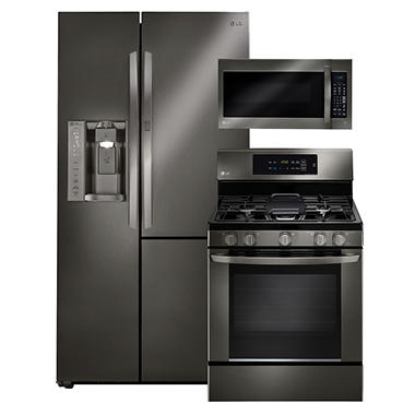 LG Side-by-Side Refrigerator with Door-in-Door, Single-Oven Gas Range, and Over-the-Range Microwave Bundle - Black Stainless Steel