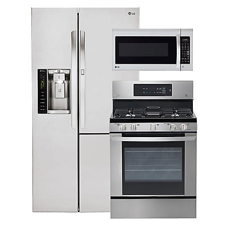 LG - Side-by-Side Refrigerator with Door-in-Door, Single-Oven Gas Range, and Over-the-Range Microwave Bundle - Stainless Steel