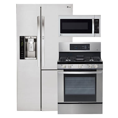 LG Side-by-Side Refrigerator with Door-in-Door, Single-Oven Gas Range, and Over-the-Range Microwave Bundle - Stainless Steel