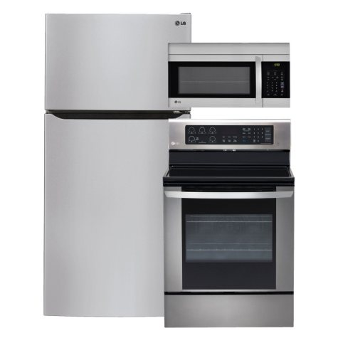 """LG - Large-Capacity 33"""" Wide Top-Freezer Refrigerator, Single-Oven Electric Range with EasyClean, and Over-the-Range Microwave Bundle - Stainless Steel"""