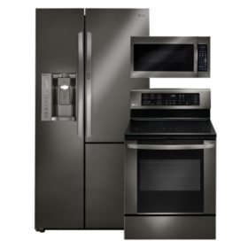 LG Side-by-Side Refrigerator with Door-in-Door, Single-Oven Electric Range with EasyClean, and Over-the-Range Microwave Bundle - Black Stainless Steel