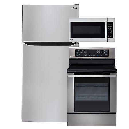 "LG - Large-Capacity 33"" Wide Top-Freezer Refrigerator, Single-Oven Electric Range with EasyClean, and Over-the-Range Microwave Bundle - Stainless Steel"