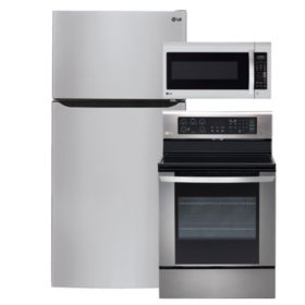 """LG Large-Capacity 33"""" Wide Top-Freezer Refrigerator, Single-Oven Electric Range with EasyClean, and Over-the-Range Microwave Bundle - Stainless Steel"""