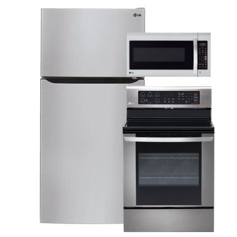 "LG Large-Capacity 33"" Wide Top-Freezer Refrigerator, Single-Oven Electric Range with EasyClean, and Over-the-Range Microwave Bundle - Stainless Steel"
