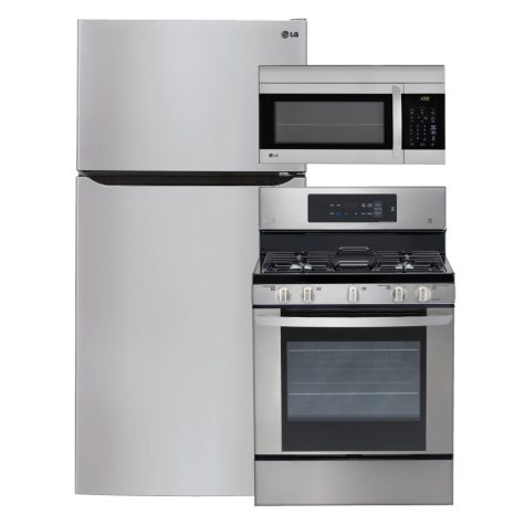 """LG - Large-Capacity 33"""" Wide Top-Freezer Refrigerator, Single-Oven Gas Range, and Over-the-Range Microwave Bundle - Stainless Steel"""