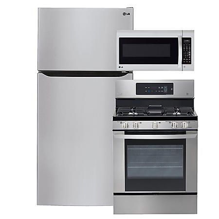 "LG - Large-Capacity 33"" Wide Top-Freezer Refrigerator, Single-Oven Gas Range, and Over-the-Range Microwave Bundle - Stainless Steel"