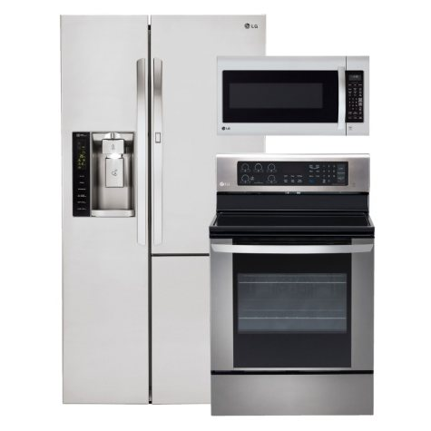 LG Side-by-Side Refrigerator with Door-in-Door, Single-Oven Electric Range with EasyClean, and Over-the-Range Microwave Bundle - Stainless Steel