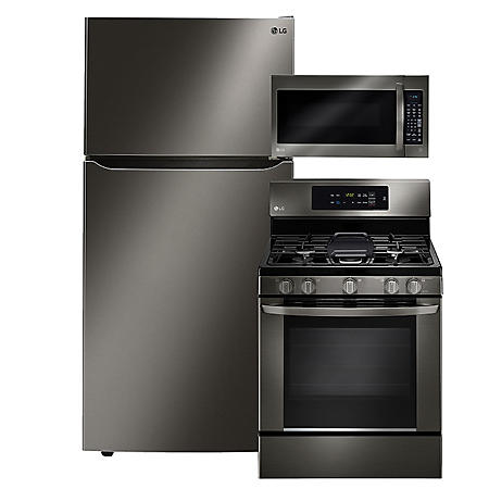 "LG - Large-Capacity 33"" Wide Top-Freezer Refrigerator, Single-Oven Gas Range, and Over-the-Range Microwave Bundle - Black Stainless Steel"