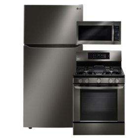 "LG Large-Capacity 33"" Wide Top-Freezer Refrigerator, Single-Oven Gas Range, and Over-the-Range Microwave Bundle - Black Stainless Steel"