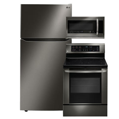 "LG Large-Capacity 33"" Wide Top-Freezer Refrigerator, Single-Oven Electric Range with EasyClean, and Over-the-Range Microwave Bundle - Black Stainless Steel"