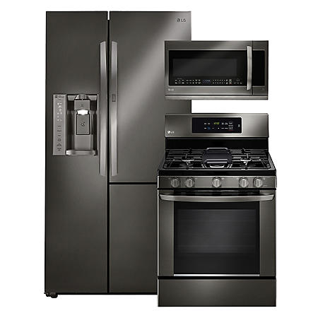 LG - Side-by-Side Refrigerator with Door-in-Door, Single-Oven Gas Range, and Over-the-Range Microwave Bundle - Black Stainless Steel