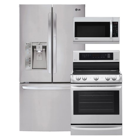 LG Ultra-Capacity 3-Door French Door Refrigerator with Door-in-Door, Single-Oven Electric Range with ProBake Convection and EasyClean, and Over-the-Range Microwave Bundle - Stainless Steel