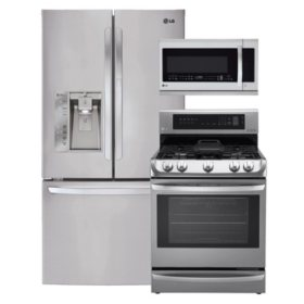LG Ultra-Capacity 3-Door French Door Refrigerator with Door-in-Door, Single-Oven Gas Range with ProBake Convection, EasyClean and Warming Drawer, and Over-the-Range Microwave Bundle - Stainless Steel