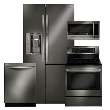LG Side-by-Side Refrigerator with Door-in-Door, Single-Oven Electric Range with True Convection and EasyClean, Over-the-Range Microwave, and Dishwasher Bundle - Black Stainless Steel