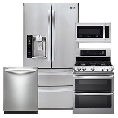 LG Ultra-Capacity 4-Door French Door Refrigerator, Double-Oven Gas Range with ProBake Convection, Over-the-Range Microwave, and Dishwasher Bundle - Stainless Steel