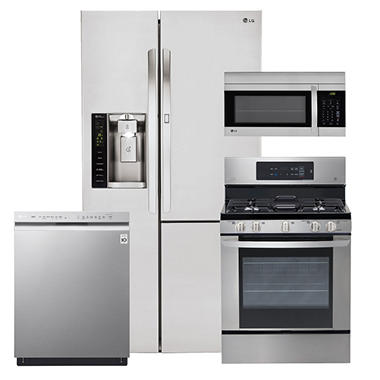 LG Side-by-Side Refrigerator with Door-in-Door, Single-Oven Gas Range, Over-the-Range Microwave, and Dishwasher Bundle - Stainless Steel