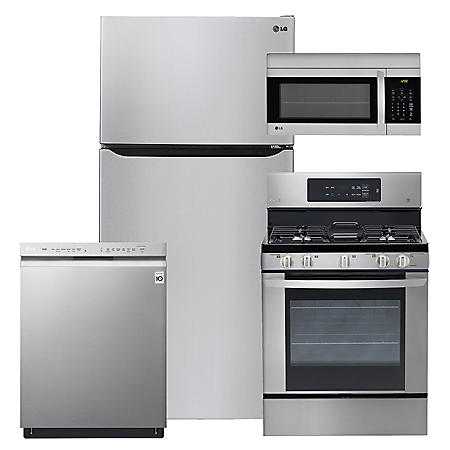 "LG - Large-Capacity 33"" Wide, Top-Freezer Refrigerator, Gas Range, Over-the-Range Microwave, and Dishwasher Bundle - Stainless Steel"
