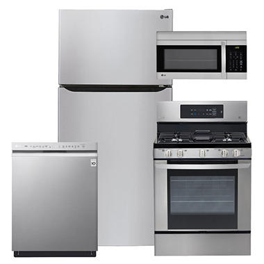 "LG Large-Capacity 33"" Wide, Top-Freezer Refrigerator, Gas Range, Over-the-Range Microwave, and Dishwasher Bundle - Stainless Steel"