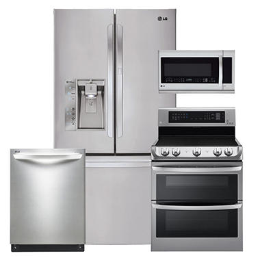 LG Ultra-Capacity 3-Door French Door Refrigerator with Door-in-Door, Double-Oven Electric Range with ProBake Convection and EasyClean, Over-the-Range Microwave, and Dishwasher Bundle - Stainless Steel