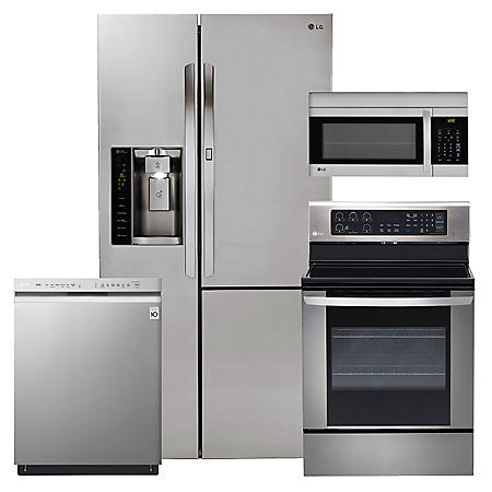 LG - Side-by-Side Refrigerator with Door-in-Door, Single-Oven Electric Range with EasyClean, Over-the-Range Microwave, and Dishwasher Bundle - Stainless Steel