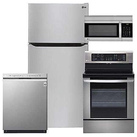 """LG - Large-Capacity 33"""" Wide, Top-Freezer Refrigerator, Single-Oven Electric Range with EasyClean, Over-the-Range Microwave, and Dishwasher Bundle - Stainless Steel"""