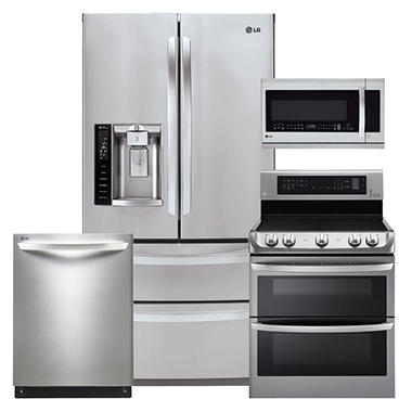 LG Ultra-Capacity 4-Door French Door Refrigerator, Double-Oven Electric Range with ProBake Convection and EasyClean, Over-the-Range Microwave, and Dishwasher Bundle - Stainless Steel