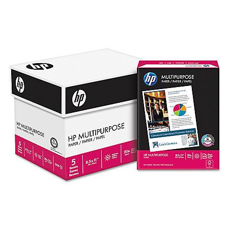 HP Multipurpose Paper, 20lb, 96 Bright, Letter, White, 2500 Sheets/Carton