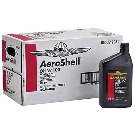 AeroShell W100 Aviation Oil - 1 Quart Bottles - 12 Pack