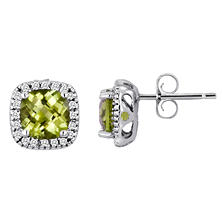 Cushion-Cut Peridot and Diamond Earrings in 14k White Gold