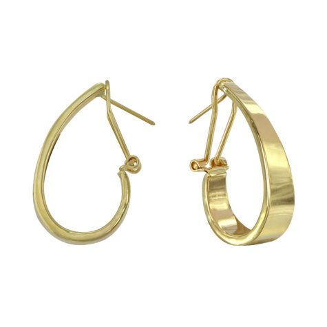 14K Yellow Gold Polished Tapered J Hoop Earrings