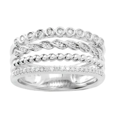 Sterling Silver and Diamond Stacked Ring Sams Club