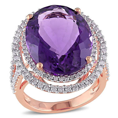 19.35 CT. Oval-Cut Amethyst and Diamond Halo Cocktail Ring in 14K Rose Gold