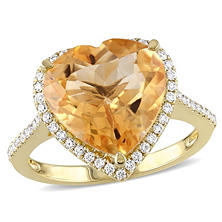 4.93 CT. Heart -Shaped Citrine and Diamond Accent Halo Ring in 14K Yellow Gold