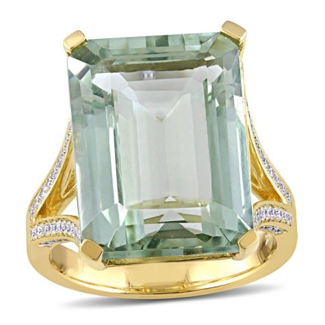 15 ct. Octagon-Cut Green Amethyst and Diamond Cocktail Ring in 14K Yellow Gold
