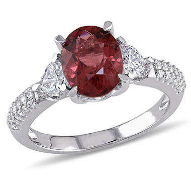 1.95 CT. Oval-Cut Pink Tourmaline with 0.67 CT. Heart and Round-Cut Diamond Accent Floral Ring in 14K White Gold