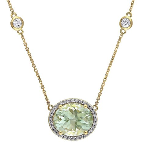5.14 CT. Oval-Cut Green Amethyst and White Sapphire with Diamond Accent Station Halo Necklace in 14K Yellow Gold